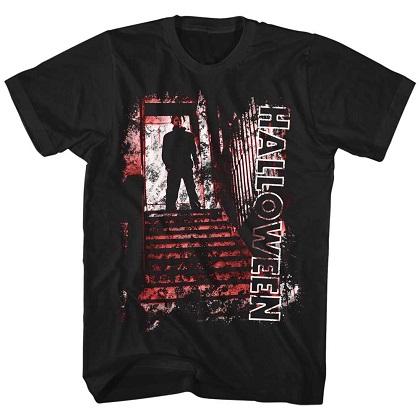 Halloween Michael Myers Stairs Black Tshirt