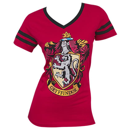 Harry Potter Women's Junior Red Gryffindor V-Neck T-Shirt