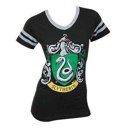 Harry Potter Women's Juniors Black Slytherin V-Neck T-Shirt