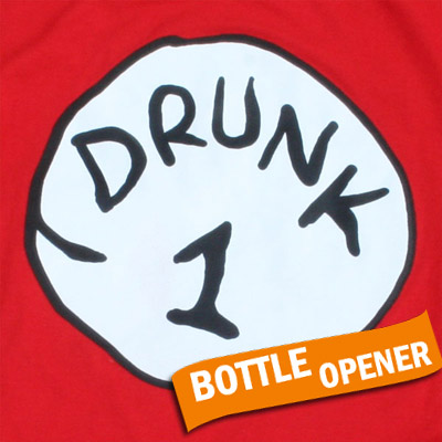 Drunk 1 Bottle Opener Halloween Costume Red T Shirt