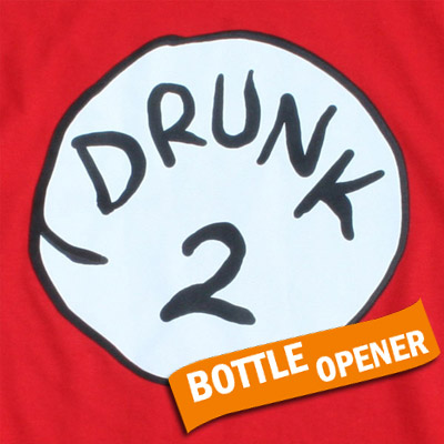 Drunk 2 Bottle Opener Halloween Costume Red T Shirt