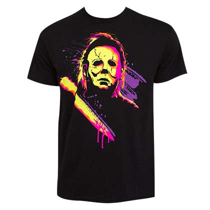 Halloween Michael Myers Neon Men's Black T-Shirt