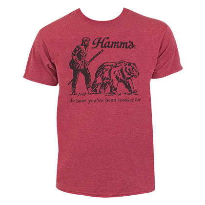 Hamm's Bear Men's Heather Red Tee Shirt