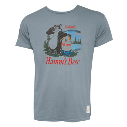 Hamms Bear Logo Slate Grey Retro Brand Tshirt