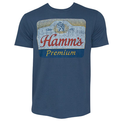 Hamm's Premium Distressed Logo Blue Tee Shirt