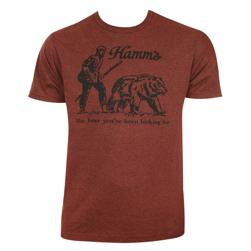 Hamm's Men's Maroon Bear T-Shirt