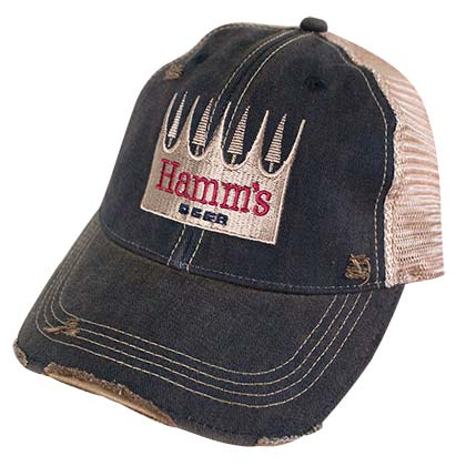 Hamm's Beer Logo Retro Brand Brown Mesh Trucker Hat