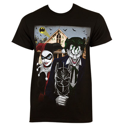 Harley Quinn The Joker Men's Black American Gothic T-Shirt