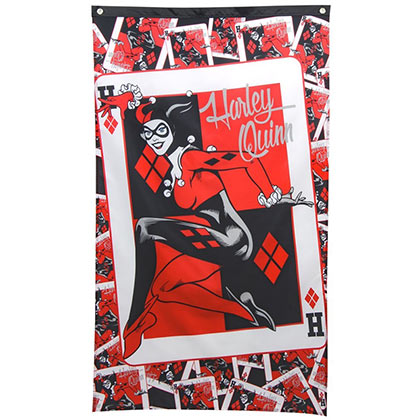 Harley Quinn Red Queen Of Hearts Wall Banner