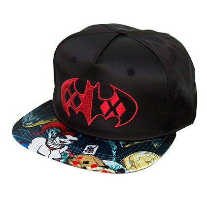 Harley Quinn Satin Black Graphic Brim Snapback Hat