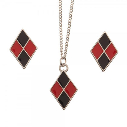 Harley Quinn Necklace and Earrings Jewlery Gift Set