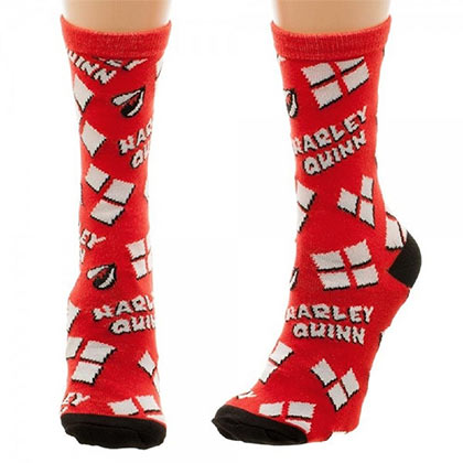 DC Comics Harley Quinn Read Tossed Print Heart Logo Juniors Socks