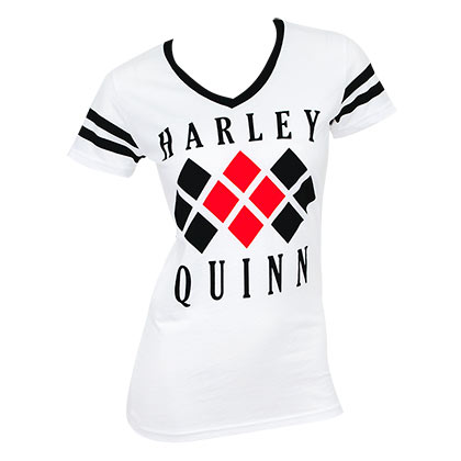 Harley Quinn Diamond Logo Varsity V-Neck Shirt