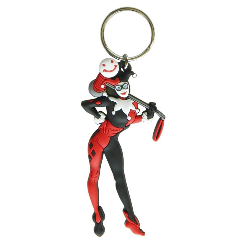 Harley Quinn Comic Character Rubber Keychain