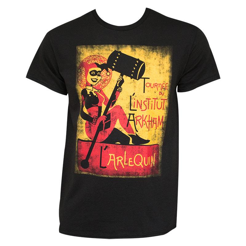 Harley Quinn Arkham Institute Black Tee Shirt