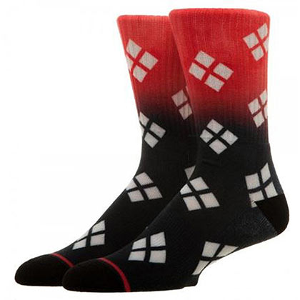 Harley Quinn Red & Black Ombre Crew Socks