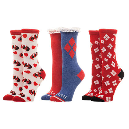 Harley Quinn Red White Blue 3 Pack Women's Socks