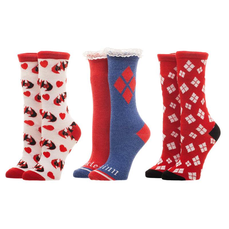 Harley Quinn Red White Blue 3 Pack Women's Socks