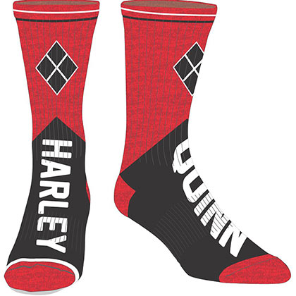 Harley Quinn Men's Black & Red Crew Socks