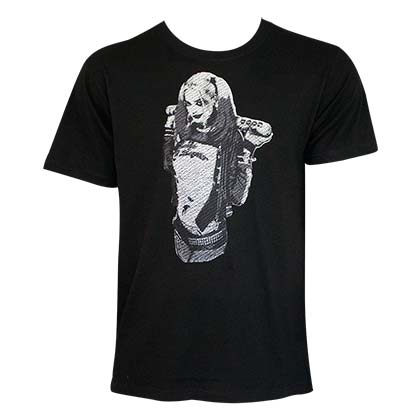 Harley Quinn Men's Black Stitched T-Shirt