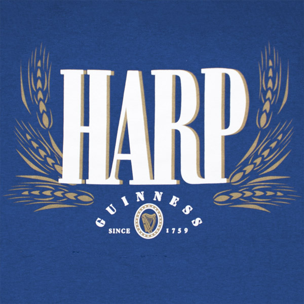 Harp Lager Guinness 2-Sided Blue Graphic T Shirt