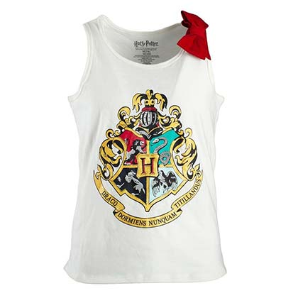 Harry Potter Hogwarts Crest Bow Girls Youth 7-16 White Tank Top