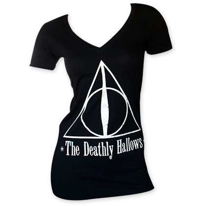 Harry Potter Women's Deathly Hallows V-Neck Black Tee Shirt