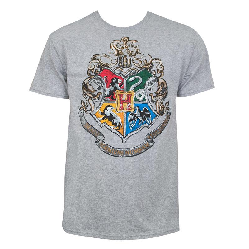 Harry Potter Men's Grey Hogwarts Crest T-Shirt ...