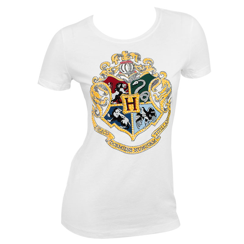 Harry Potter Hogwarts Glitter Crest Ladies White Tee Shirt