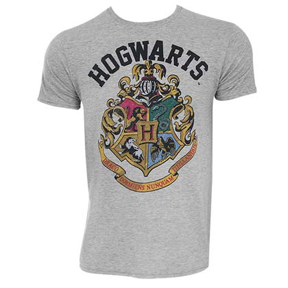 Harry Potter Hogwarts Crest Grey Tee Shirt