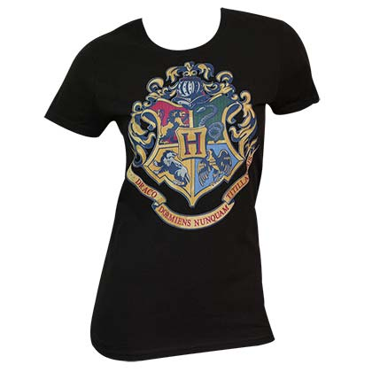 Women's Harry Potter Crest Black Tee Shirt