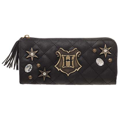 Harry Potter Hogwarts Quilted Womens Black Zip Wallet