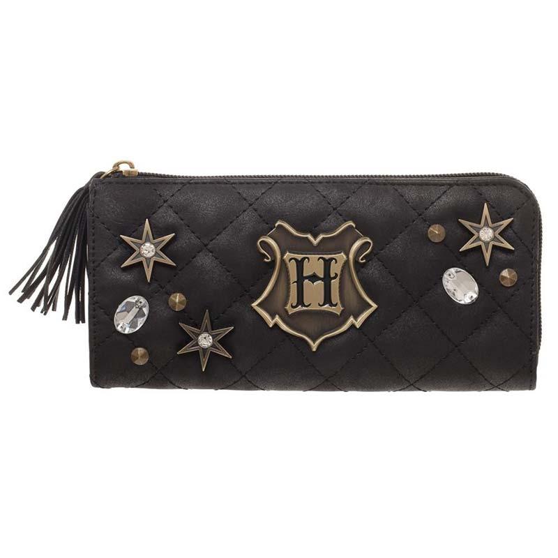 Harry Potter Hogwarts Quilted Black Zip Wallet
