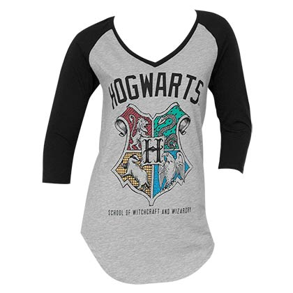 Harry Potter Grey Hogwarts Baseball Sleeve V-Neck T-Shirt