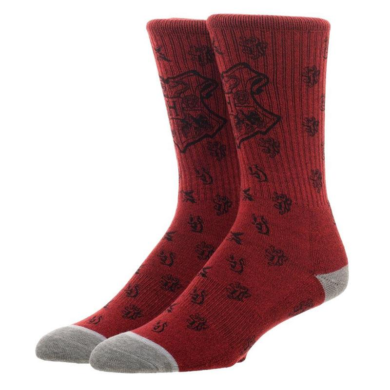 Harry Potter Hogwarts Logos Water Print Red Men's Crew Socks