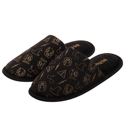 Harry Potter Movie Symbols All Over Design Black Unisex Sandals