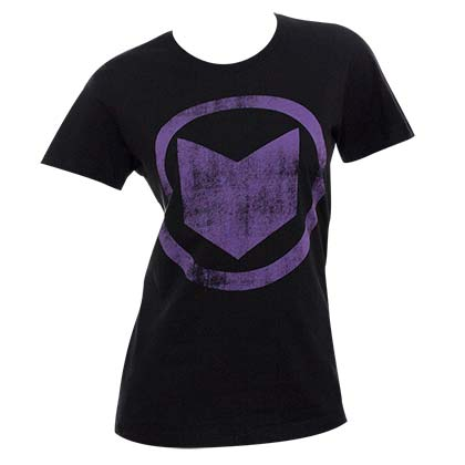 Women's Hawkeye Distressed Icon Black T-Shirt