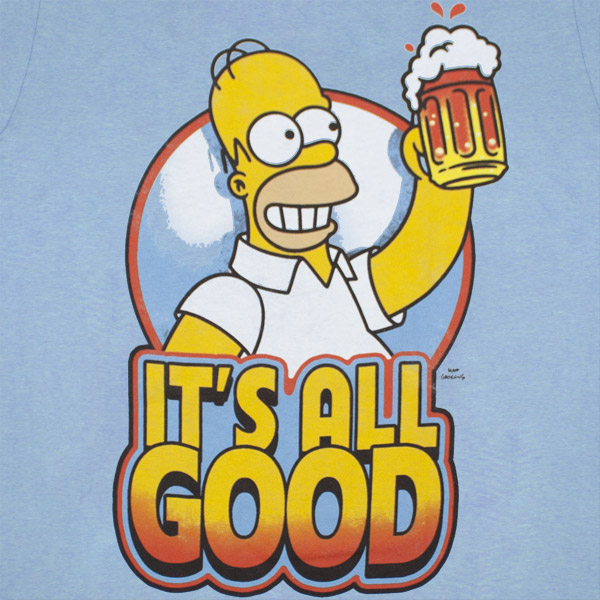 The Simpsons Homer Beer Mug It's All Good Blue Graphic T Shirt
