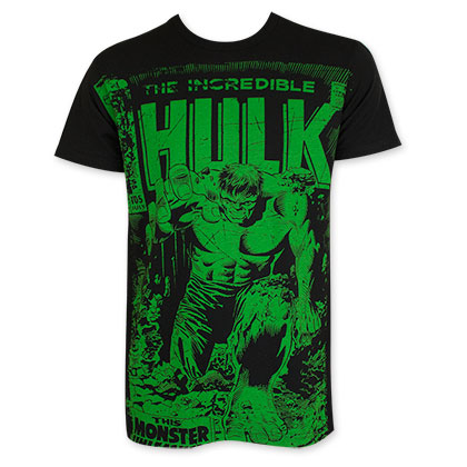 Hulk Green On Black Subway Tee Shirt