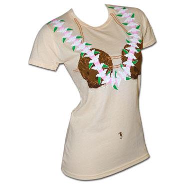 Coconut Bra Costume Juniors Cream Graphic Tshirt
