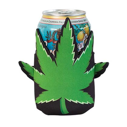 Pot Leaf Die Cut Can Cooler