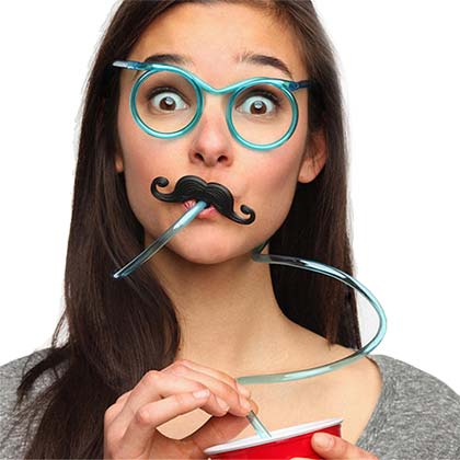 Mustache Drinking Straw Glasses