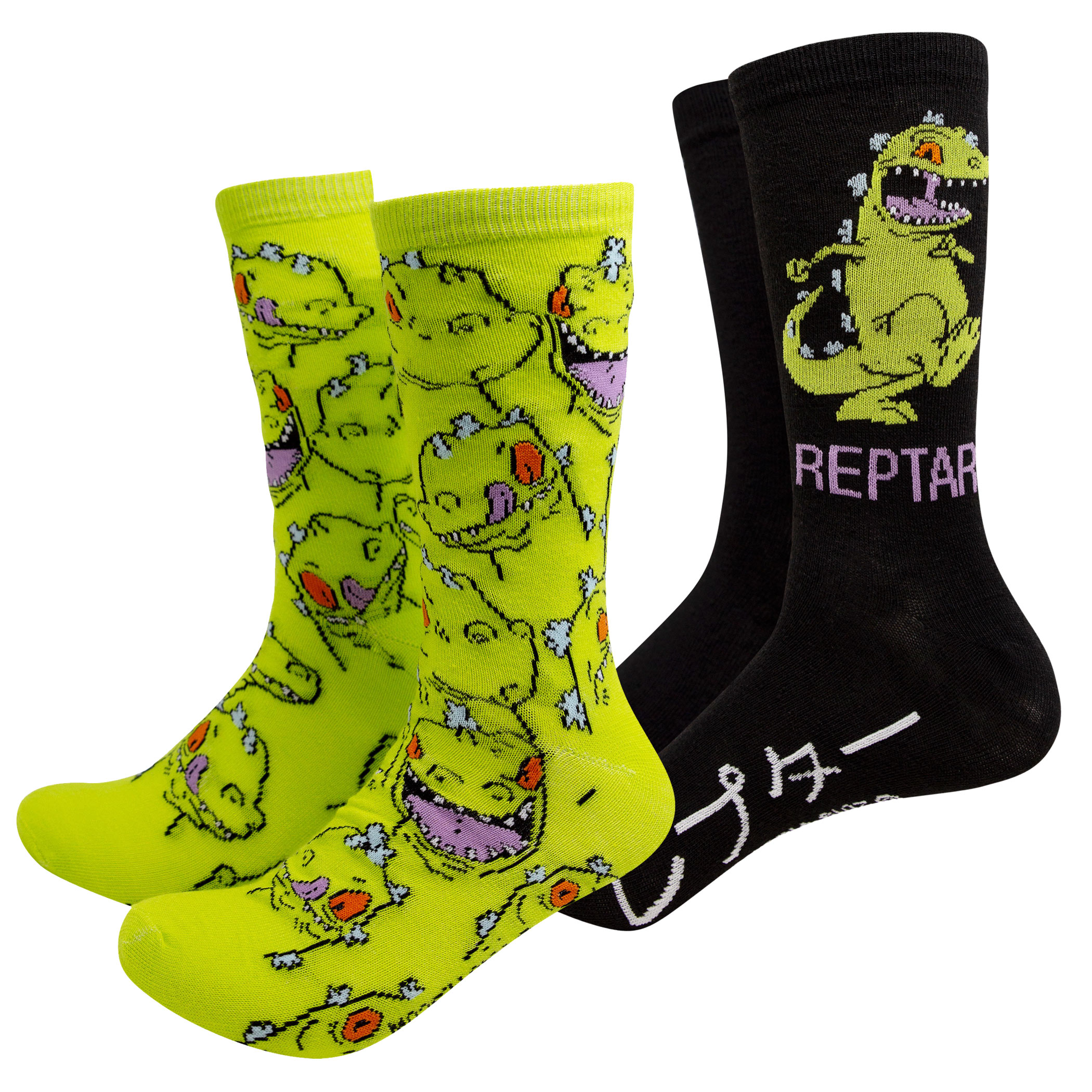 Rugrats Green And Black Reptar 2-Pack Crew Socks