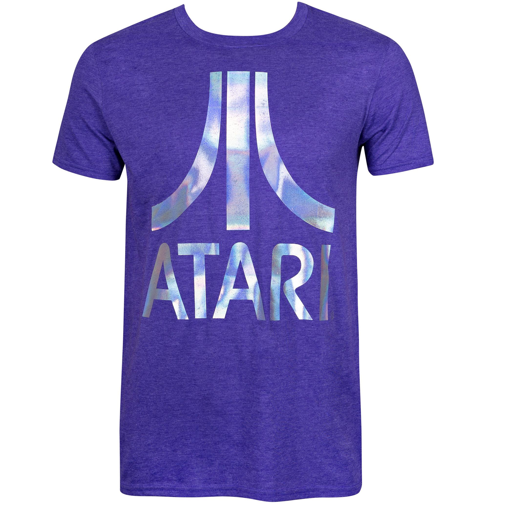 Atari Men's Purple Foil Logo T-Shirt