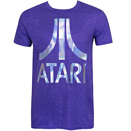 Atari Men's Purple Foil Logo T-Shirt