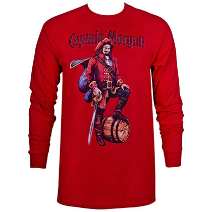 Captain Morgan Men's Red Long Sleeve Shirt
