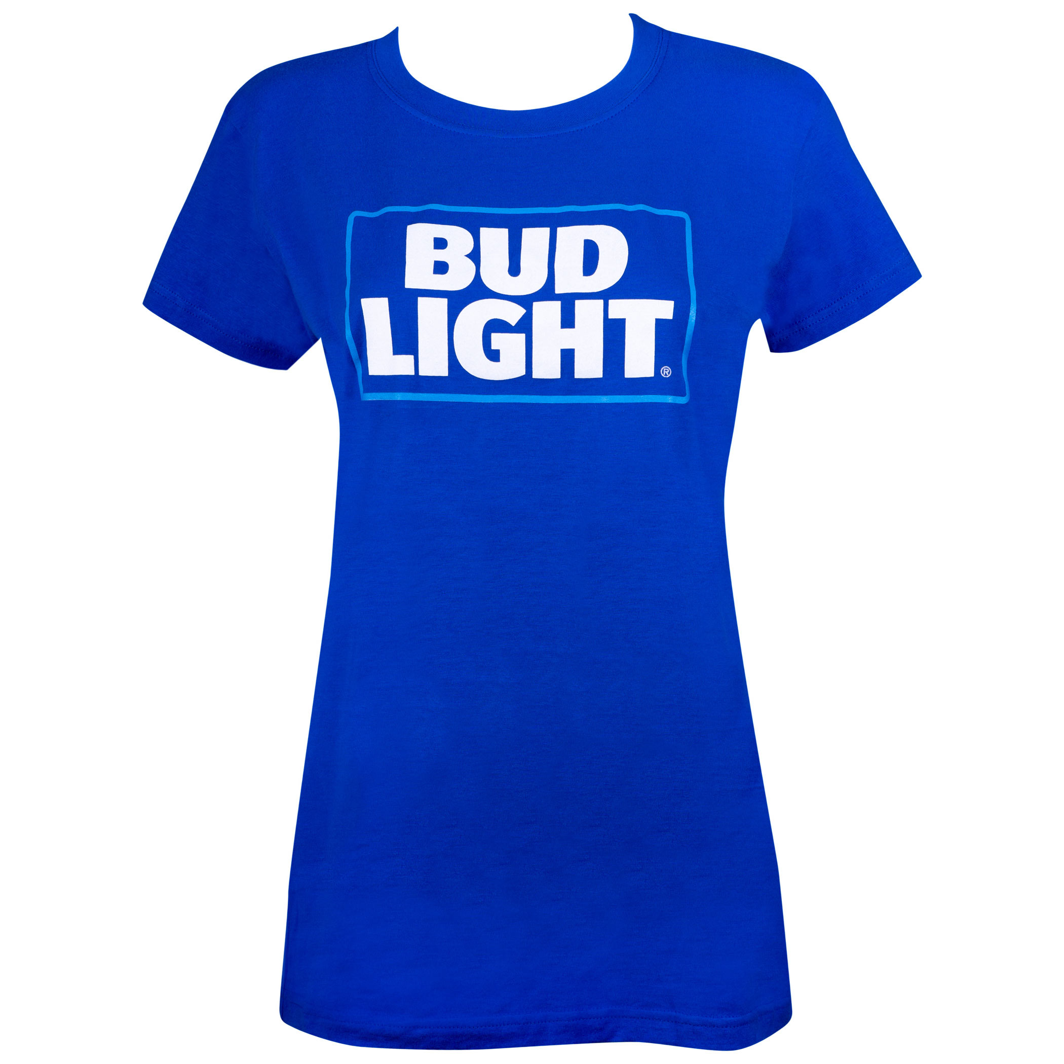 Bud Light Box Logo Women's Blue Tshirt