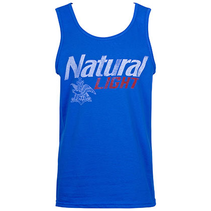 Natural Light Men's Blue Distressed Logo Tank Top