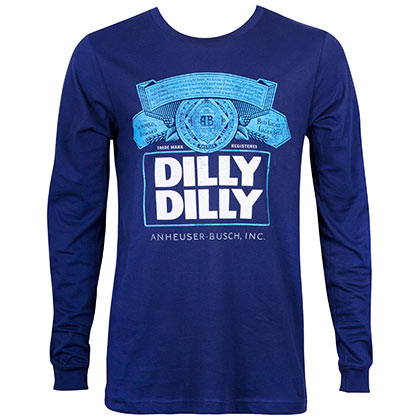 Bud Light Men's Navy Blue Long Sleeve Dilly Dilly Shirt