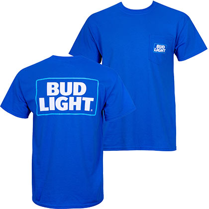 Bud Light Men's Blue Modern Logo Pocket T-Shirt